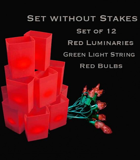 Set of 12 Red Luminaries, Green Light String, Red/Green Bulbs, No Stakes