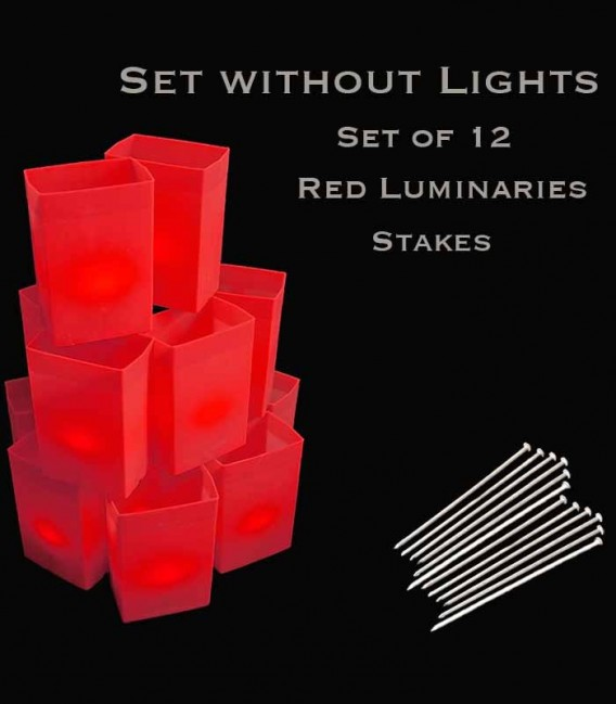 Set of 12 Red Luminaries, No Lights, Stakes