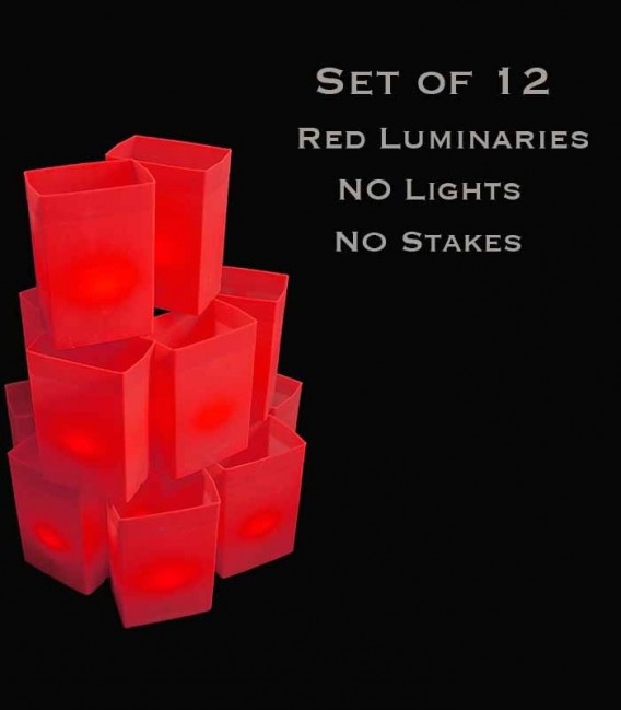 Set of 12 Red Luminaries, No Lights, No Stakes