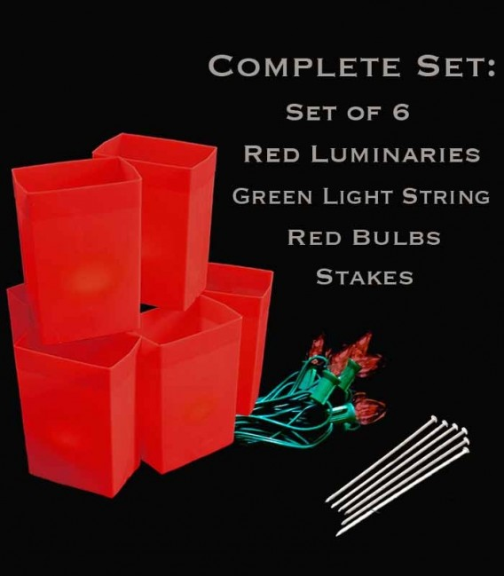 Set of 6 Red Luminaries, Green Light String, Red Bulbs, Stakes