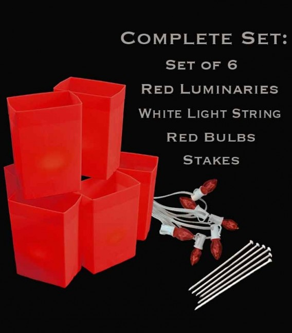 Set of 6 Red Luminaries, White Light String, Red Bulbs, Stakes