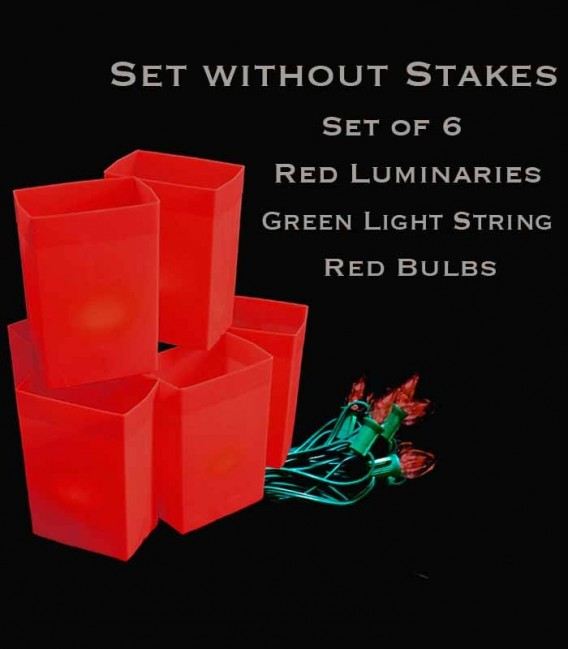 Set of 6 Red Luminaries, Green Light String, Red Bulbs, No Stakes