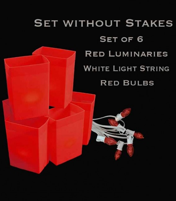 Set of 6 Red Luminaries, White Light String, Red Bulbs, No Stakes
