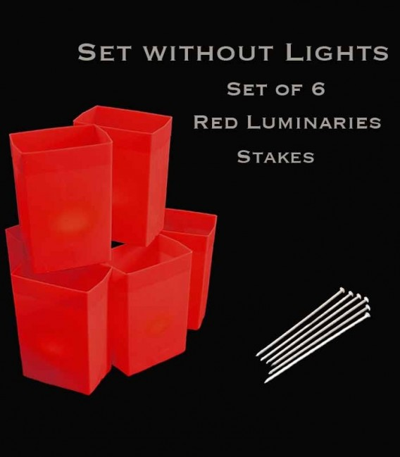 Set of 6 Red Luminaries, No Lights, Stakes