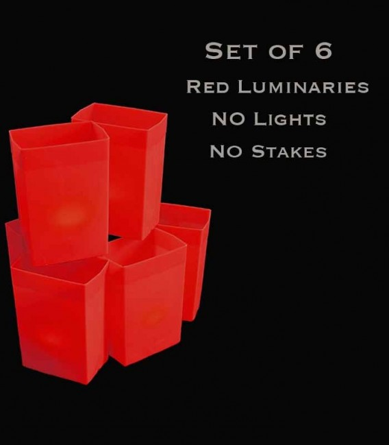 Set of 6 Red Luminaries, No Lights, No Stakes