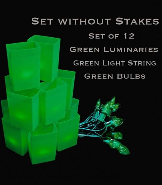 Set of 12 Green Luminaries, Green Light String, Green Bulbs, No Stakes