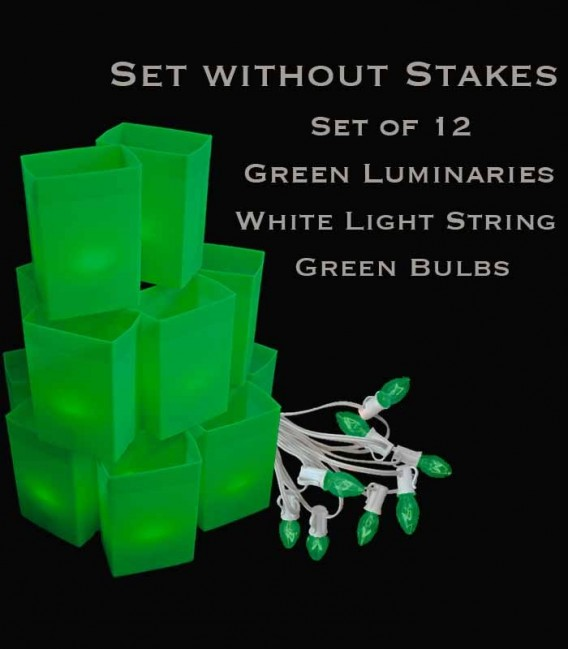 Set of 12 Green Luminaries, White Light String, Green Bulbs, No Stakes