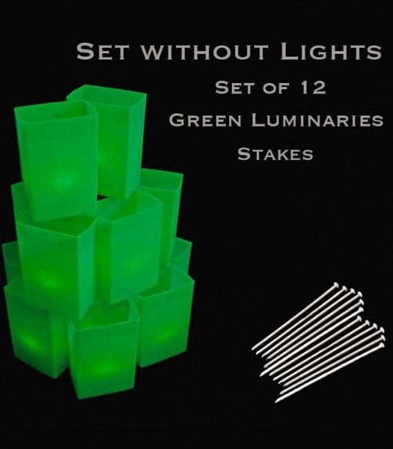 Set of 12 Green Luminaries, No Lights, Stakes