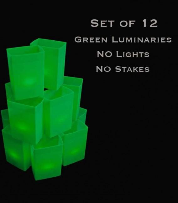 Set of 12 Green Luminaries, No Lights, No Stakes