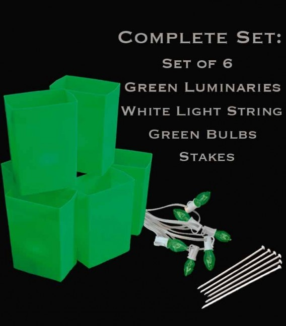 Set of 6 Green Luminaries, White Light String, Green Bulbs, Stakes