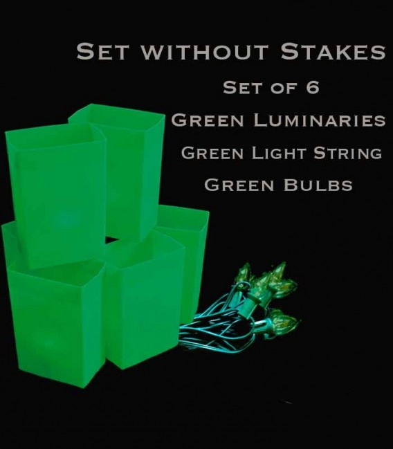 Set of 6 Green Luminaries, Green Light String, Green Bulbs, No Stakes
