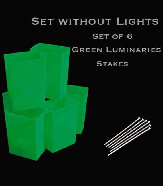 Set of 6 Green Luminaries, No Lights, Stakes