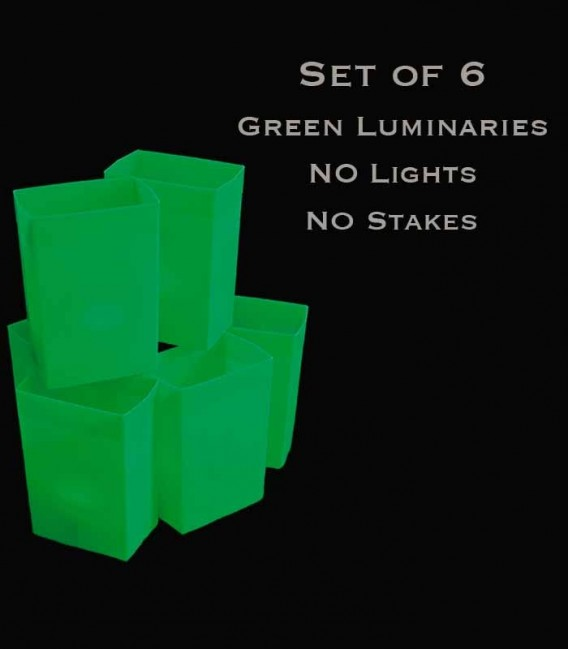 Set of 6 Green Luminaries, No Lights, No Stakes