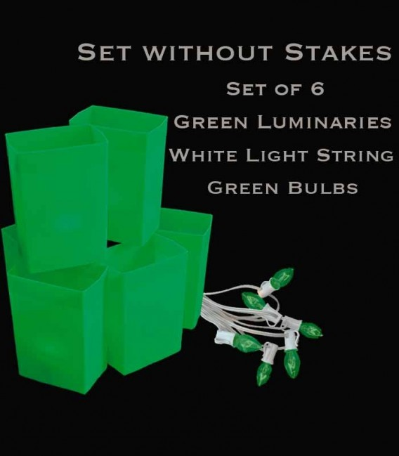 Set of 6 Green Luminaries, White Light String, Green Bulbs, No Stakes