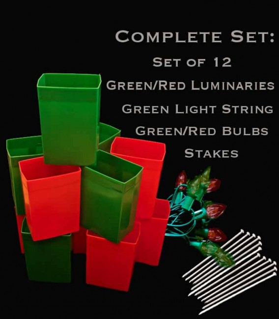 Set of 12 Red/Green Luminaries, green light string with red/green bulbs, stakes