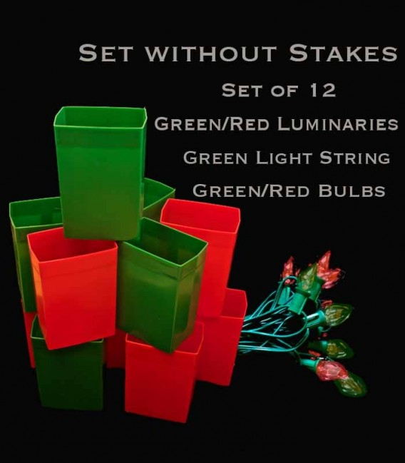 Set of 12 Red/Green Luminaries, green light string with red/green bulbs, no stakes