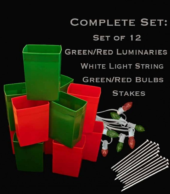 Set of 12 Red/Green Luminaries, white light string with red/green bulbs, stakes