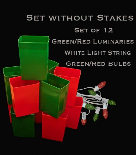 Set of 12 Red/Green Luminaries, white light string with red/green bulbs, no stakes