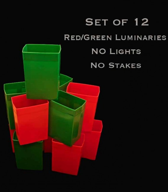 Set of 12 Red/Green Luminaries, no light source, no stakes