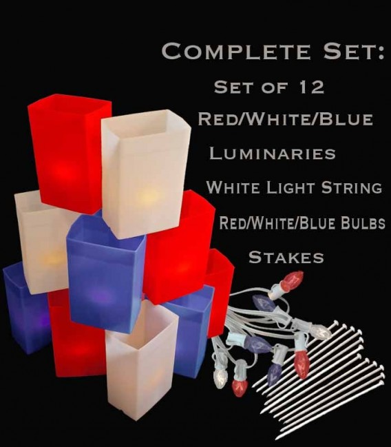 Set of 12 Patriotic Luminaries, white light string with R/W/B bulbs, stakes