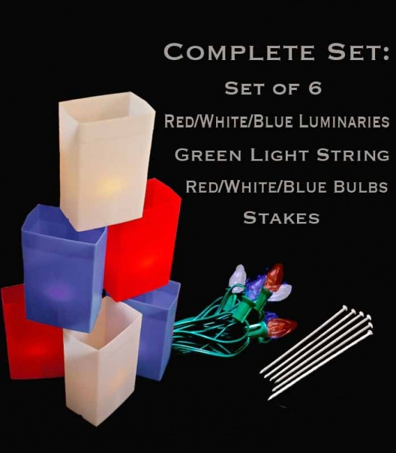 Set of 6 Patriotic Luminaries, green light string with red/white/blue bulbs, stakes