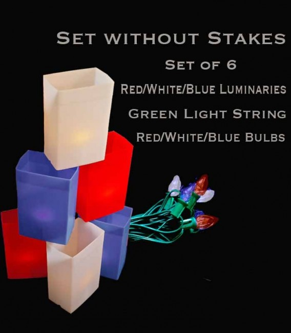 Set of 6 Patriotic Luminaries, green light string with red/white/blue bulbs, no stakes