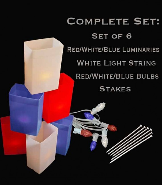 Set of 6 Patriotic Luminaries, white light string with red/white/blue bulbs, stakes