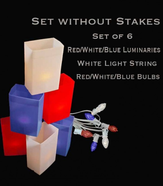Set of 6 Patriotic Luminaries, white light string with red/white/blue bulbs, no stakes