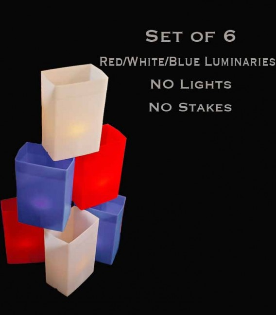 Set of 6 Patriotic Luminaries, no light source, no stakes