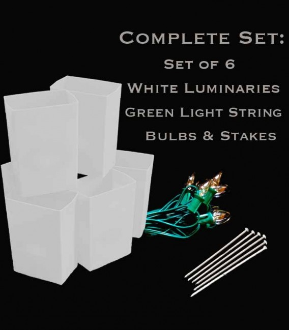 Set of 6 White Luminaries, green light string with clear bulbs, stakes