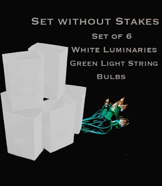 Set of 6 White Luminaries, green light string with clear bulbs, no stakes