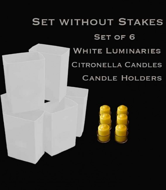 Set of 6 White Luminaries, Citronella Candles & Holders, No Stakes