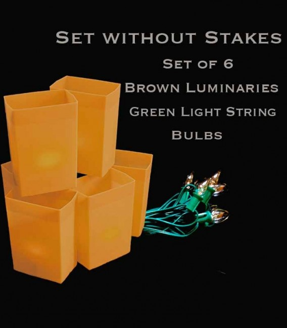 Set of 6 Brown Luminaries, green light string with clear bulbs, no stakes