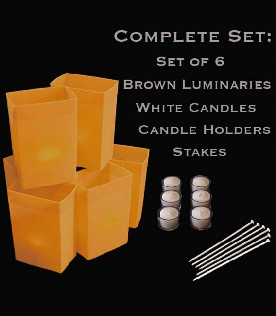 Set of 6 Brown Luminaries, white candles & holders, stakes