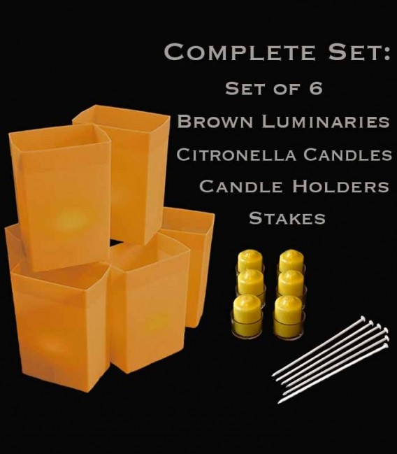 Set of 6 Brown Luminaries, citronella candles & holders, stakes