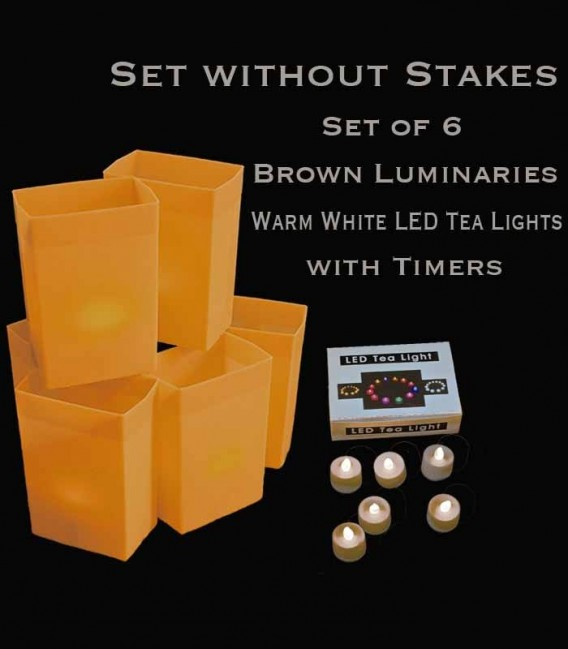 Set of 6 Brown Luminaries, warm white LED tea lights with timers, no stakes