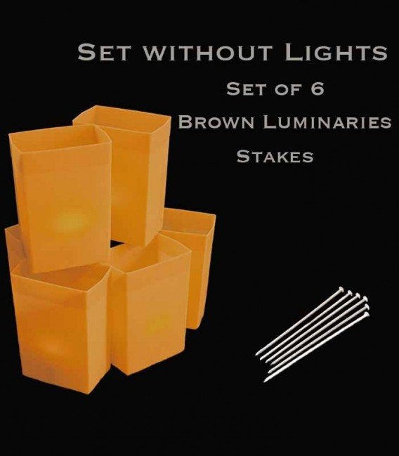 Set of 6 Brown Luminaries, no light source, stakes