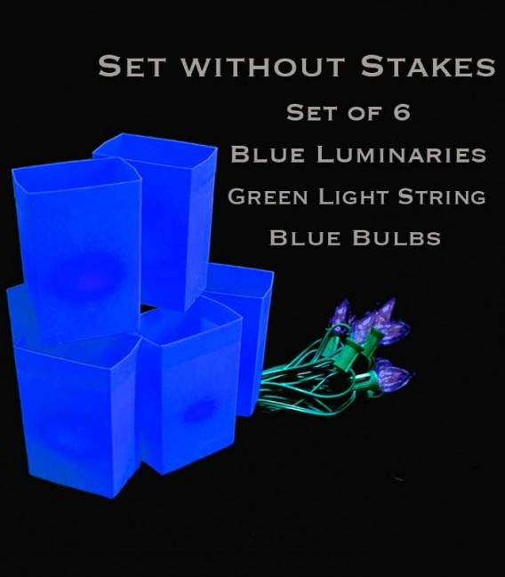 Set of 6 Blue Luminaries, green light strings with blue bulbs, no stakes