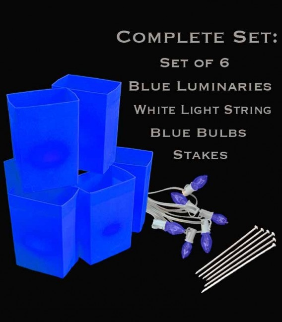 Set of 6 Blue Luminaries, white light strings with blue bulbs, stakes