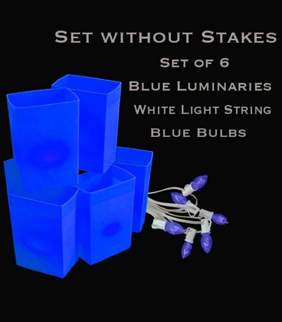 Set of 6 Blue Luminaries, white light strings with blue bulbs, no stakes