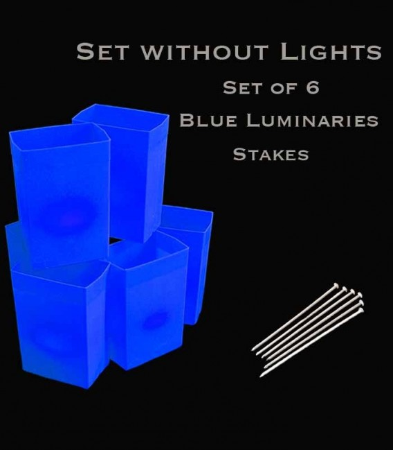 Set of 6 Blue Luminaries, no light source, stakes