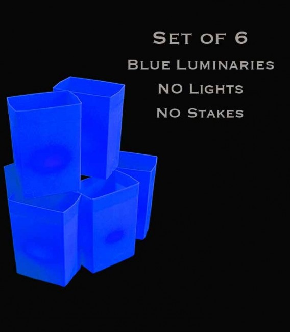 Set of 6 Blue Luminaries, no light source, no stakes