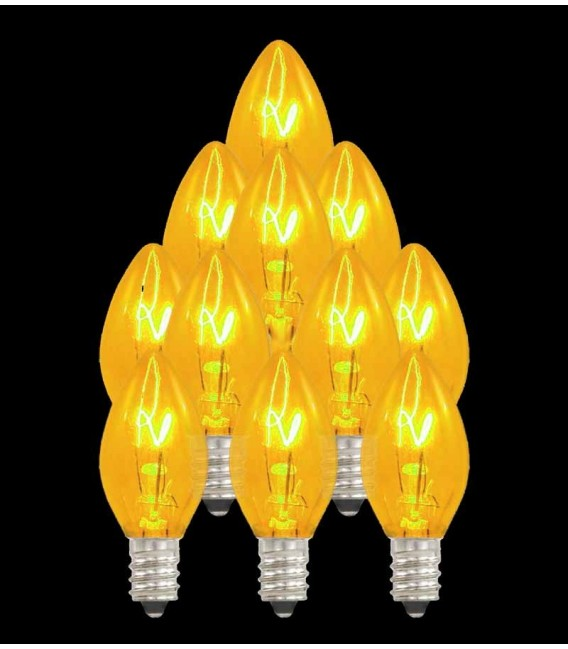 Set of 13 Replacement Yellow C7 Light Bulbs