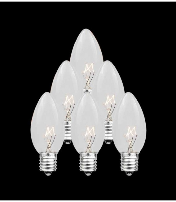 Set of 7 Replacement Clear C7 Light Bulbs
