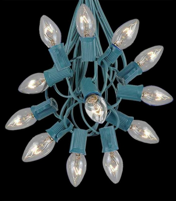 12 Socket Green Electric Light String, Clear Bulbs