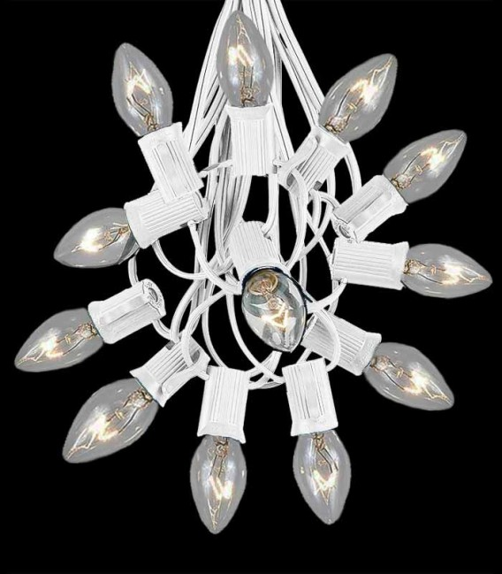 12 Socket White Electric Light String, Clear Bulbs