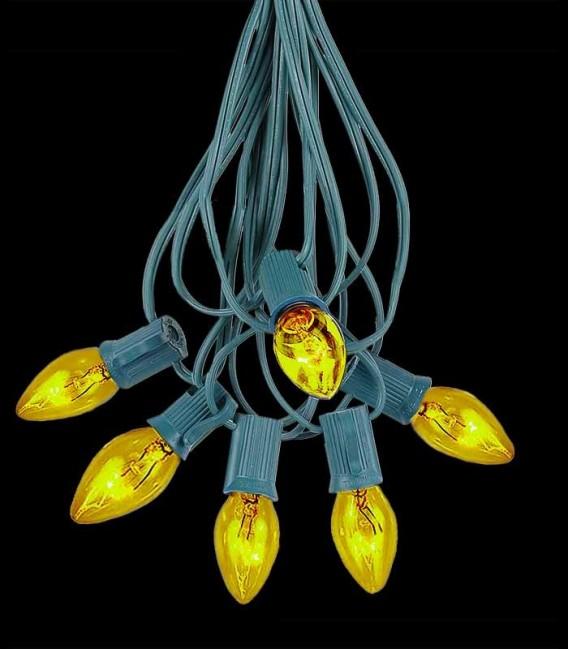 6 Socket Green Electric Light String, Yellow Bulbs