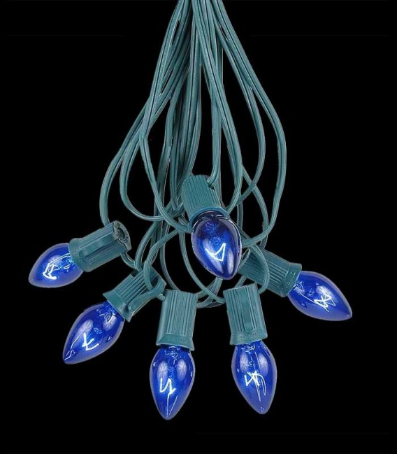 6 Socket Green Electric Light String, Blue Bulbs