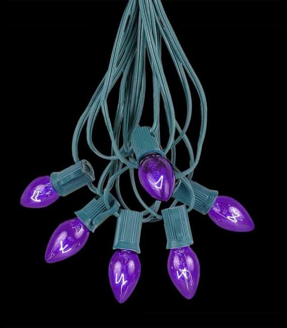 6 Socket Green Electric Light String, Purple Bulbs