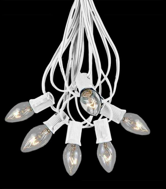 6 Socket White Electric Light String, Clear Bulbs